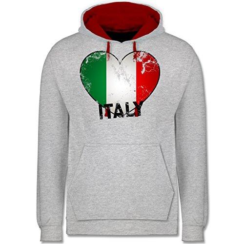Länder - Italien Herz Vintage - Kontrast Hoodie Grau Meliert/Rot
