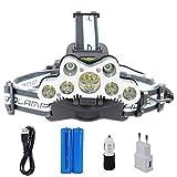 Boruit LED Stirnlampe Kopflampe mit USB 7*XML-T6+ 2*R2 LEDs Wasserdicht Aufladbar Superhell 6500 Lumen Headlight Headlamp 6 Modi mit EU Stecker