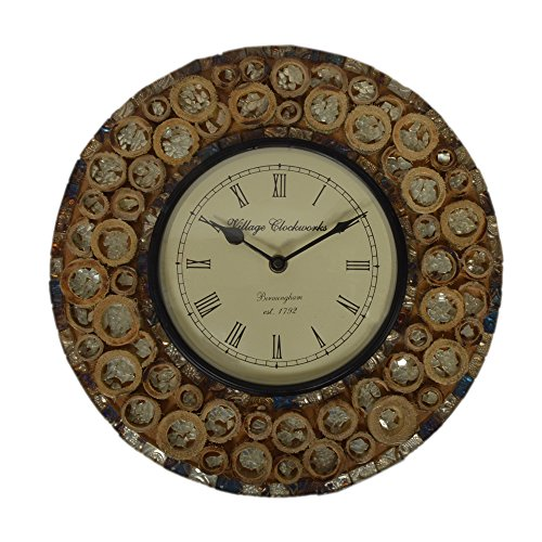 Purpledip Wall Clock for home, glass mosaic with rugged wood pieces, 12x12 inch (10274)