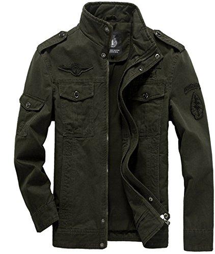 WLITTLE Herren Jacke Fruhling Herbst Baumwolle Militar Männer Jacke Feldjacke Parka Herrenjacke Pilotenjacke