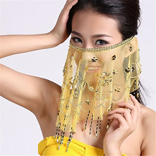 Danse du ventre Tribe Costume Face Veil With Sequins Beads Mesh Face Veil yellow