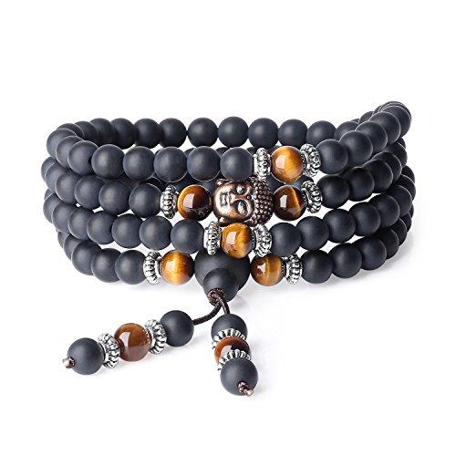coai Collier Mala Bracelet Multi-Tours Tête de Bouddha Amulette Pierre Onyx Noir Mat Œil de Tigre Jaune Unisexe