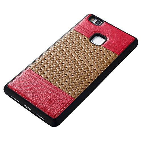 Cover Per Huawei P9 Lite, Asnlove TPU Moda Morbida Custodia Linee Intrecciate Caso Elegante Ultra Sottile Cassa Braided Stile Tessere Case Bumper Per Huawei P9 Lite - Rosa Marrone