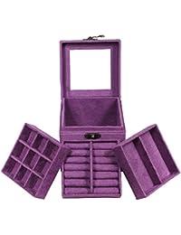 Hrph Caja de joyería de tres capas de la vendimia del estilo de la manera Caja de almacenaje de Multideck