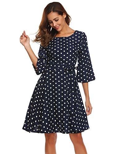 Beyove Damen Abendkleid 50s Vintage Polka Dots Langarm Kleid Blumenkleid Festliches Kleid Swing Rockabilly Kleid mit Gürtel Cocktailkleid Winterkleid Herbst Dunkelblau