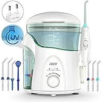 Hydropulseur Jet dentaire avec UV stérilisateur, THZY Water Flosser Oral Irrigateur Dentaire avec 2 modes de nettoyage, 7 embouts, réglage de la pression, 600 ml, Blanc