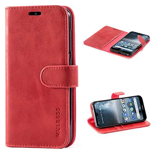 Mulbess Handyhülle für Nokia 4.2 Hülle, Leder Flip Case Schutzhülle für Nokia 4.2 Tasche, Wein Rot