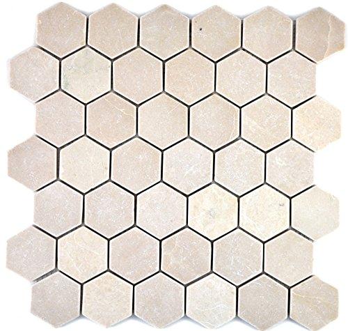 Mosaik Fliese Marmor Naturstein beige Hexagon Marmor Botticino Anticato für BODEN WAND BAD WC DUSCHE KÜCHE FLIESENSPIEGEL THEKENVERKLEIDUNG BADEWANNENVERKLEIDUNG Mosaikmatte Mosaikplatte