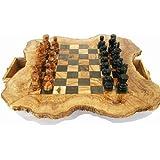 Naturally Med Schachbrett rustikal aus olivenholz 50cm