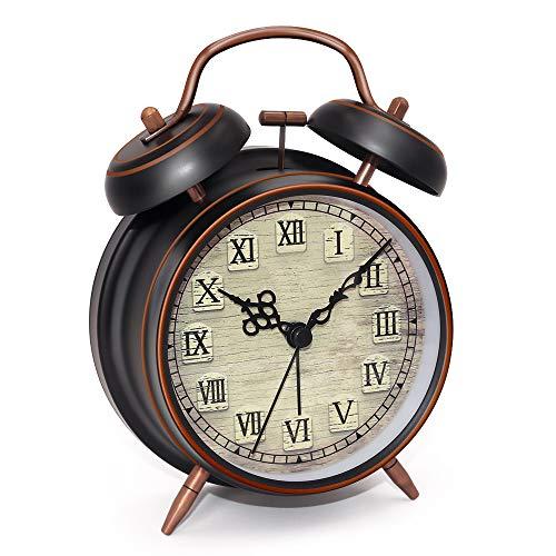 Eachui Despertador de Doble Campana con luz de Noche, 10cm de dial, analogico, Reloj clásico con Alarma...