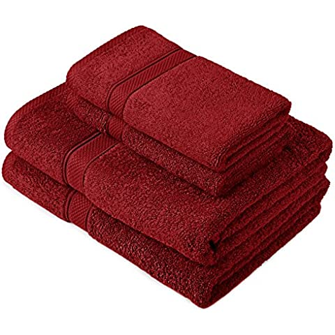 Pinzon by Amazon - Set di asciugamani in cotone egiziano, 2 asciugamani da bagno e 2 per le mani, colore: rosso ribes