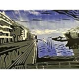 Europahafen - Linolschnitt, von Hand einzeln gedruckt, etwa 15x20cm, Limitiert auf 10 Stück, nicht nachdruckbar