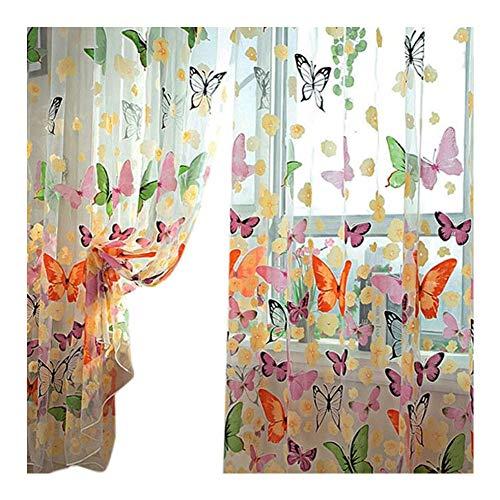 Asien 1Pc Vorhänge Schmetterlings-Druck Dekorative Gardinen Startseite Fenster Elegante Voile Yarn Gaze-Vorhänge für Wohnzimmer (Elegante Wohnzimmer-gardinen)
