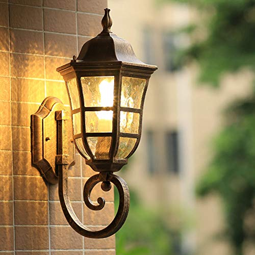 Vintage E27 Außen Wandleuchte Wandlampe Bronze Aluminiumguss Glas Lampenschirm Wasserdichte IP44 Gartenlampe Außenleuchten Pavillon Terrasse Ecke Balkon Eingang Wand-Laterne,18 * 23.5 * 45CM -