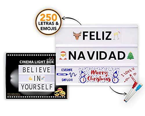 Caja de Luz LED A4 con 250 Letras Símbolos Emojis