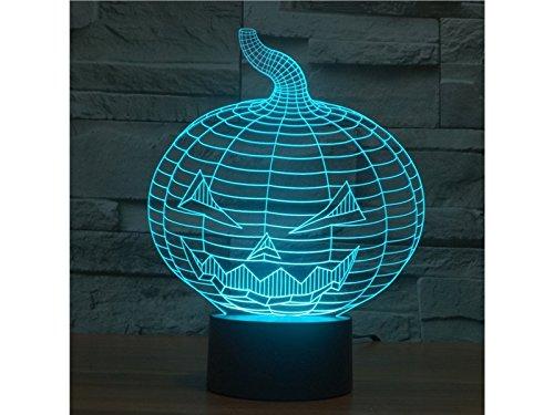 (HFjingjing Dekorativ 3D Halloween Kürbis LED Licht Figur Illusion 7 Farbwechsel Smart Touch USB Tisch Schreibtischlampen für Schlafzimmer)