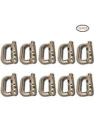10Pieza Multiusos D–Ring mosquetón Grimloc Locking para Molle Correa con Mochilas y Bolsillos, Unisex, Braun 2