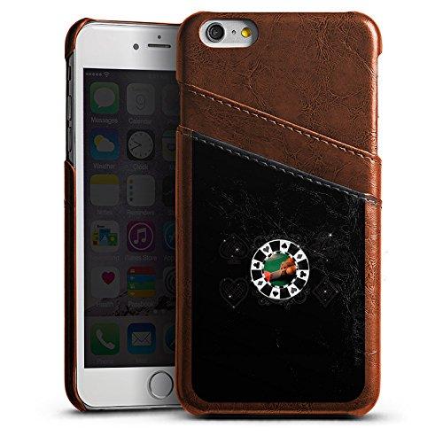 DeinDesign Apple iPhone 6 Plus Lederhülle Maroon Leder Case Leder Handyhülle Poker Chip Heart -