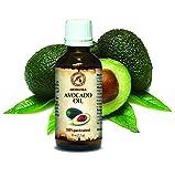 Olio di Avocado 50ml - Persea Gratissima - Sudafrica - Naturale e Puro al 100% - Cura per Viso - Corpo - Capelli e Pelle - Ottimo con Olio Essenziale - Massaggi - Cosmetici - Bottiglia di Vetro