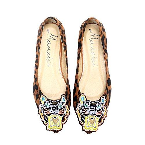LvYuan-mxx Femmes chaussures plates / Printemps été automne / Décontracté / Simple suède / imprimé léopard / talons plats pointé tête / Bureau et carrière Robe BROWN-39