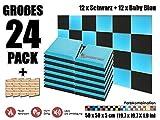 Super Dash 24 Stück Schwarz und Baby Blau 50 x 50 x 5 cm Akustische Schalldämmung Flach Bevel Schaum Studio Behandlung Wandfliesen SD1039