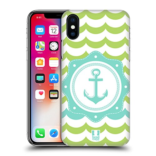 Head Case Designs Ancora Blu Viaggiatore Del Mare Cover Retro Rigida per Apple iPhone X Ancora Verde Menta