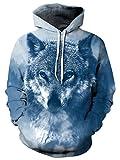 Bfustyle Unisex 3D Bedruckt mit Kapuze Xmas Wolf Sweatshirt Pullover Kordelzug Jacke mit großer Tasche