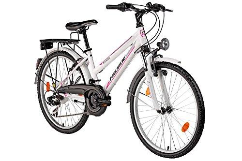 Kinderfahrrad für Mädchen 24 Zoll Hillside Miami in weiß MTB Stadtfahrrad Fahrrad City-Bike Miami Federung vorn, Gepäckträger, Seitenständer, 21 Gang Schaltung