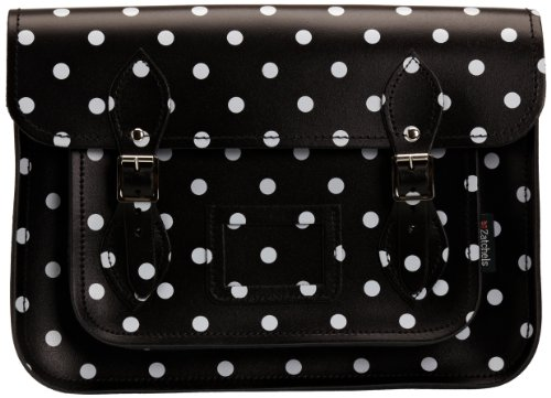 Zatchels Polka Dot Satchel 14.5, Borsa a tracolla donna Bianco (White/Red)