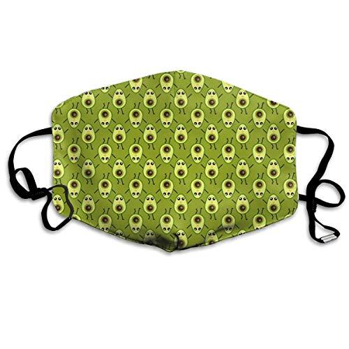 Avocado-gesichts-maske (Anti-Allergie Maske für Jungen und Mädchen, Anti-Allergie, Ohrschlaufe, Halbgesicht, Gesichts- und Nasenschutz, winddicht, verstellbar, elastisches Band, süßes Cartoon-Avocado-Design)