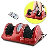 Nova Microdermabrasion Kneading Rolling Foot Leg Calf Massager Muscle Relief Machine w Remote Control (Red)