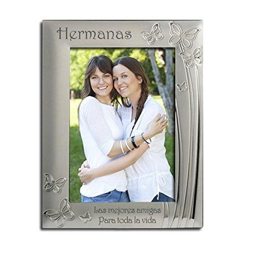 """Marco de fotos de hermanas, chapado en plata, diseño de mariposa, grabado con""""Hermanas, las mejores amigas. Para toda la vida"""". Regalo de Hermanas, hermana presente,"""