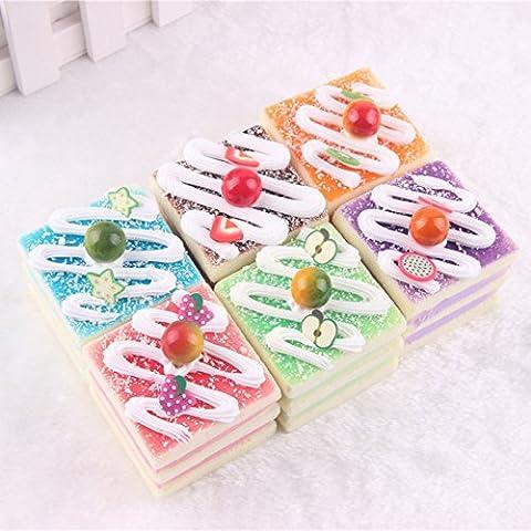 ChenXi Shop 3pcs Ramdon Cute Emoji Small Fruit Cake Filled with Cream Kawaii Squishy Simulation Bread Fun Toys Soft Decoration