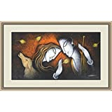 With Frame Radha Krishna Beautiful Artistic Painting (On Canvas Large Size 31x21 Inches)