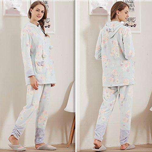 YouPue Pyjamas Sets Femmes Velours Corail Hooded Pyjama Tricotage Costume Manches Longues Pull-over Homewear Loungewear Bleu