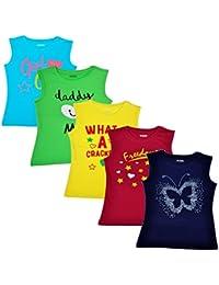Joy Baby Girls Printed Round Neck Cotton Sleeveless Tshirts