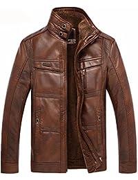 Dalisay Herren Jacken Männer Beiläufig Jacke Mantel Stehkragen Zip Up  Kunstleder Jacke mit warmen Fleece gefütterte bf53afdcb8