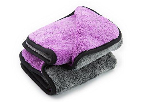 ginoclean® 2X Profi Auto-Poliertuch, weiches Microfasertuch, schonende Autopflege, Mikrofaser-Trockentuch, 1000gsm, 40x40cm, Purple & Grey | Purple & Grey