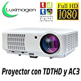 Proyector Full HD 1080P, LUXIMAGEN HD520 (2018 Última Versión), Proyector barato maxima luminosidad Portátil Proyectores LED Projector LCD Cine en casa 1920x1080 AC3 2 x HDMI TV TDT VGA 2 x USB para PS4, XBOX ONE, Nintendo Switch, televisión TDT HD integrado