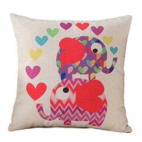 Ruikey animal algodón lino Home Decor sofa cintura tirar fundas de cojin cuadrado elefante impresos Oficina coche fundas de almohada decoracion Regalo 45 x 45 cm (Beige)