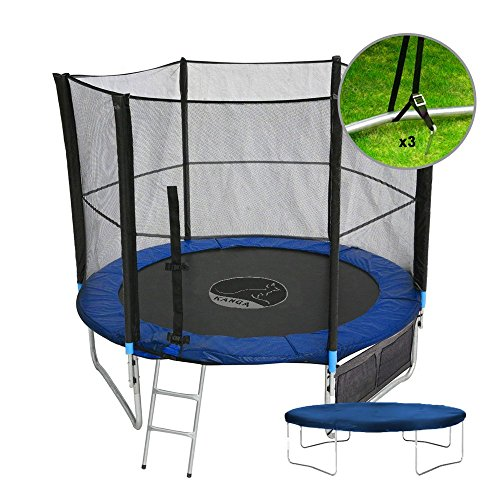 Kanga 10ft Premium Trampoline with Safety Enclosure, Net, Ladder, Anchor Kit, Shoe Bag & Winter Cover (10ft)