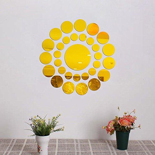 Berrose-31pc Runde Spiegel Wandaufkleber Acryl Oberfläche Aufkleber Home Room DIY Art Decor 3D-Brücken-Boden-Wand-Aufkleber-entfernbare Wandabziehbild-Vinyl-Kunst-Wohnzimmer