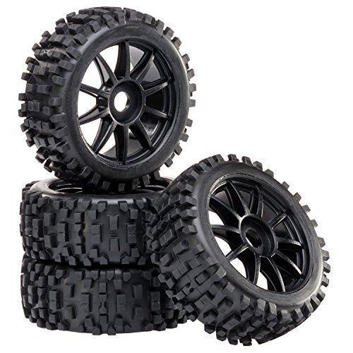 Preisvergleich Produktbild Buggy Reifen Felgenset Attack mit 10-Speichenfelge schwarz 1:8 partCore 320019