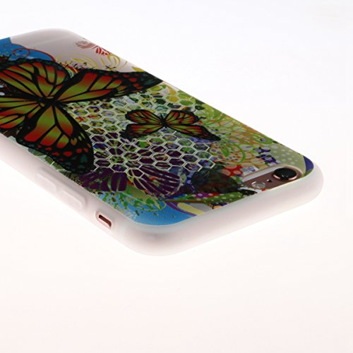 iPhone 6s Hülle,TPU Silikon Defender für iPhone 6,Ekakashop Bunte Campanula Muster Ultra dünn Slim Transparent Flexible Gel Crystal Klar Case Protective Schutzhülle Durchsichtig mit Niedliche Cartoon  Schmetterlinge