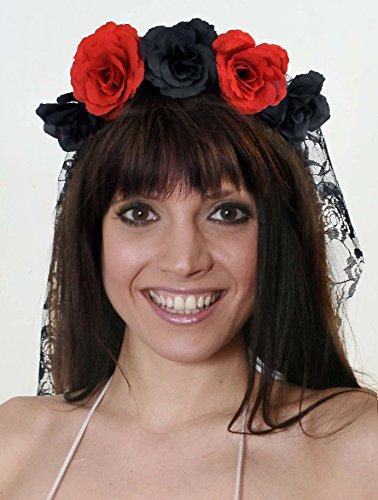 EIF SPANISCH ODER Tag des TODES ODER Braut des TEUFELS SCHWARZER HAARREIF MIT ROT/SCHWARZEN Blumen UND SCHWARZEM Schleier = ERHALTBAR IN VERSCHIEDENEN STÜCKZAHLEN ()