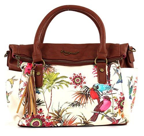 Desigual Bols Liberty New Tropic Damen-Handtasche, Schultertasche, Umhängetasche, Tasche - tiza 61X52B0-1010