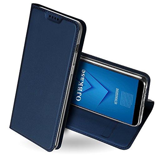 OJBKase Galaxy A6 2018 Hülle, Premium Slim PU Leder Handy Schutzhülle [Standfunktion] Hülle/Cover/Brieftasche/Ledertasche Bookstyle Tasche Lederhülle Handyhülle für Samsung Galaxy A6 2018 (Blau)