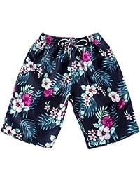 ZEZKT-Herren Damen Lover Partner Floral Gedruckte Badeshorts Beachshorts Boardshorts Badehose Bermuda Shorts Schwimmhose Badehosen Schnelltrocknend UV Schutz Sommer Hot Pants