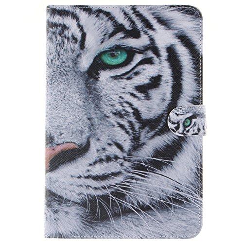 Anlike Asus ZenPad S 8.0 Z580 Hülle, Folio PU Leder Lederhülle Leder Tasche Case Flip Brieftasche Schutzhülle Tasche Etui mit Bookstyle mit Standfunktion Kredit Karteneinschub und Magnetverschluß - White Tiger