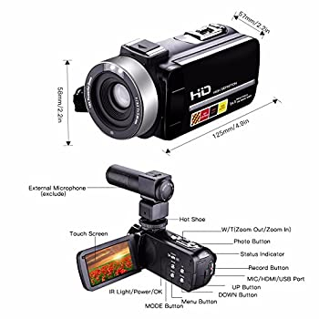 Camera Camcorders,camking Hdv-301m 1080p 16x Digital Zoom 3 Inch Touch Screen Lcd Video Camcorder With External Microphone 4